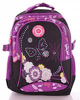 Яркий практичный рюкзачок текстильный, для девочки 15 л. Weisite 11-5, черный/розовый