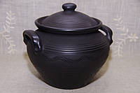 "Супниця глиняна ""Чорна кераміка"" ручна робота 3,5 л"