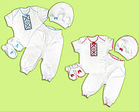 Вышитый летний комплект для новорожденных. Костюм-вышиванка для малышей. Ясельный летний комплект-вышиванка