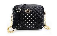Женская Мини сумочка с короной черного цвета, фото 1