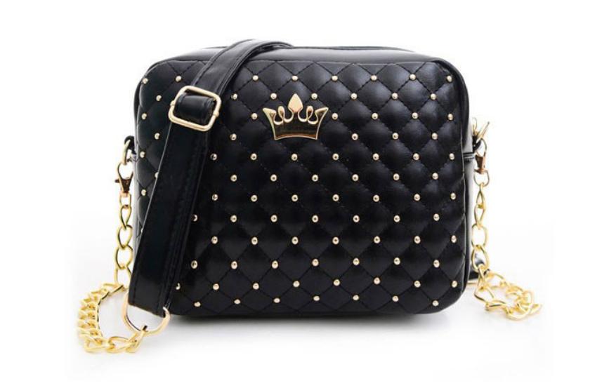 Женская Мини сумочка с короной черного цвета