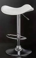 Барный стул-табурет хокер Ж3 хромированный сиденье белый кожзам