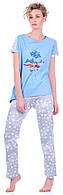 Комплект одежды жен. USA голубой S (футболка+капри)