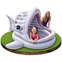 """Детский надувной бассейн Intex 57120 """"Акула"""" с навесом 201*198*109см"""