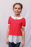 Детская блуза-туника красного цвета в горошек