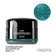 Глиттерный гель Naomi UV Glitter Gel Blue 14 гр