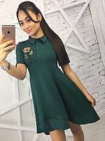 Женское трикотажное платье с коротким рукавом Роза