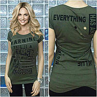 "Летня Турецкая футболка ""Warning"" хаки"