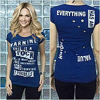 """Женская футболка """"Warning"""" джинс"""