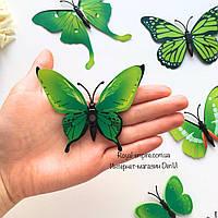"""Бабочки """"Зеленый""""  3D бабочки, на стену или на холодильник 12 шт в наборе, зеленого и салатового цвета."""