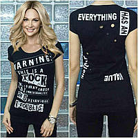 """Модная футболка Турция """"Warning"""" черный"""