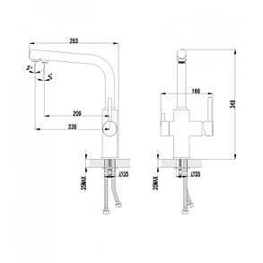 Imprese DAICY смеситель для кухни однорычажный с подключением питьевой воды, сатин, фото 2