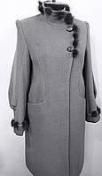 Пальто женское зима с норкой Д 36 серое