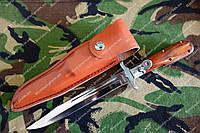 Штык нож складной лезвие 200мм,чехол из кожи +видеообзор