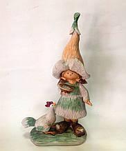 Статуэтка, Садовая фигурка, 27х13х7 см, Девочка с петухом, Подарки и сувениры, Днепропетровск