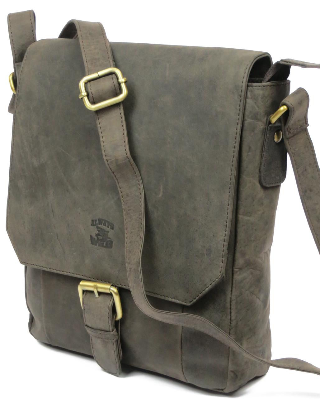 Кожаная сумка-плантешка среднего размера Always Wild С48.0163 коричневая