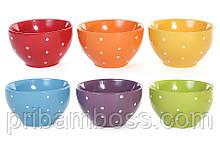 Пиала керамическая Горох 670мл (яркие цвета), 6 шт.