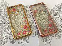 TPU чехол со стразами для Huawei Honor 8 розовый и золотистый