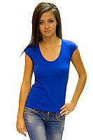 Синяя футболка женская спортивная летняя однотонная без рисунка короткий рукав хб стрейч (Украина)