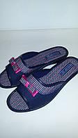 Тапочки женские Белста джинс с бантиком открытые (36-40р)