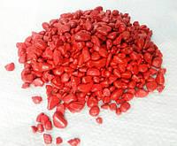 Декоративная цветная черная каменная крошка галька гравий для сада  , клумб(196)(196) Красный