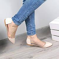 Балетки женские Vendy бежевый лак, обувь женская