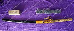 Самурайский меч катана  на подставке  , в подарочной деревянной коробке   желтого цвета