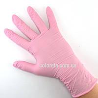 Перчатки нитриловые неопудренные розовые S (100 шт./50 пар)