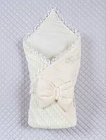 Нарядный вязаный конверт-одеяло для выписки и прогулок., фото 1