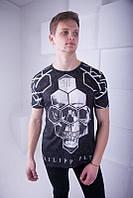 Модная мужская футболка Philipp Plein, черного цвета