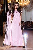 Модное нежно-розовое длинное платье на шнуровке, с карманами. Арт-2159/57