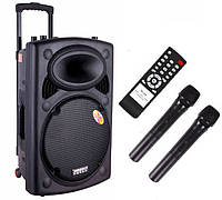 Акустика на аккумуляторе DP-297L с 2-мя радиомикрофонами (USB/FM/Bluetooth), фото 1