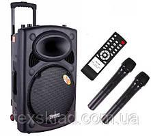 Акустика на аккумуляторе DP-297L с 2-мя радиомикрофонами (USB/FM/Bluetooth)