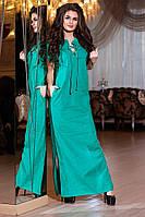 Модное зеленое  длинное платье на шнуровке, с карманами. Арт-2159/57