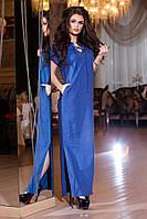 Модное синее длинное платье на шнуровке, с карманами. Арт-2159/57