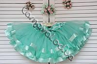 Детская пышная  юбка-пачка с атласной лентой