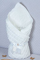 Нарядный вязаный конверт-одеяло для выписки и прогулок.