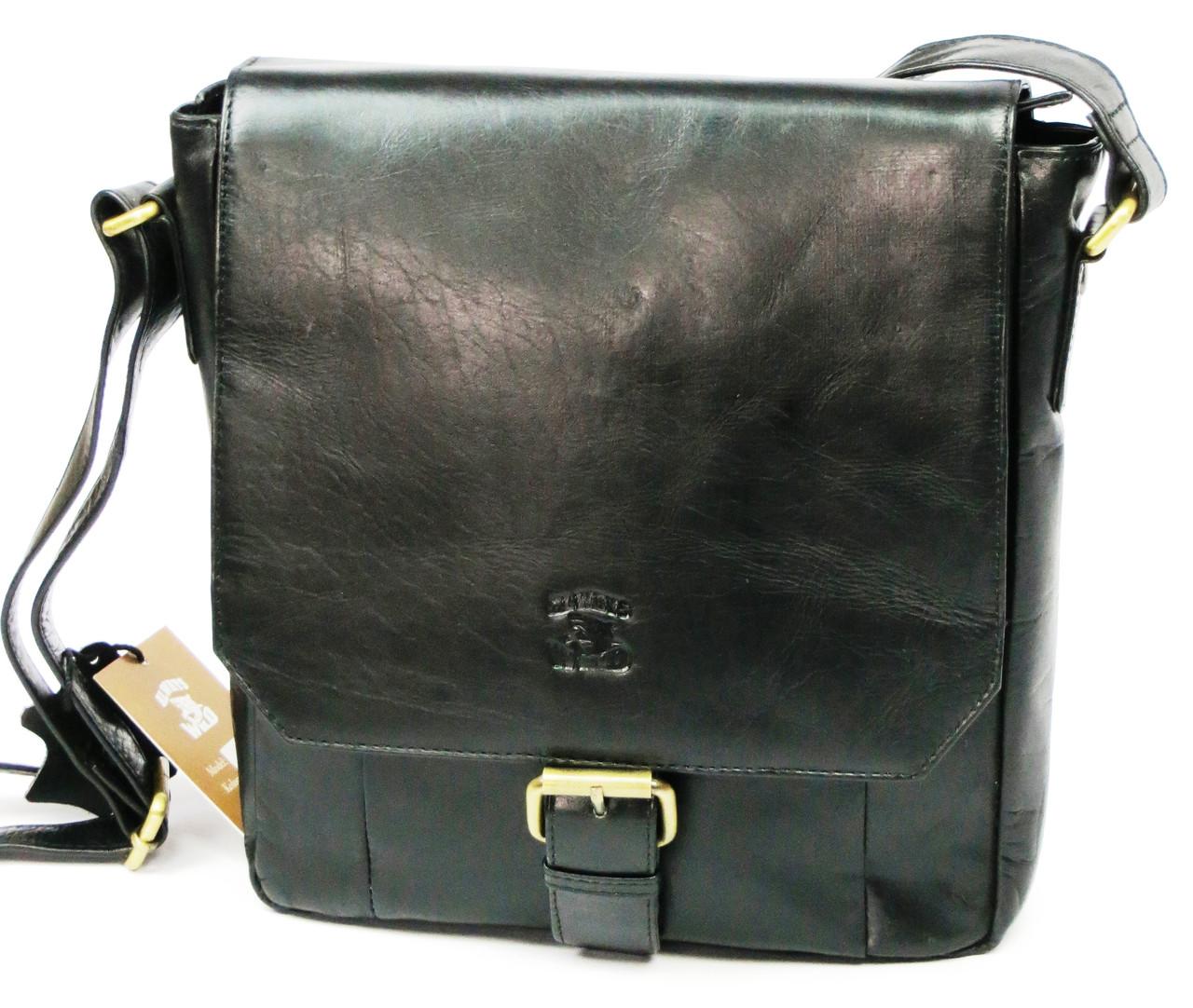 Кожаная сумка-плантешка среднего размера Always Wild С48.0163 черный