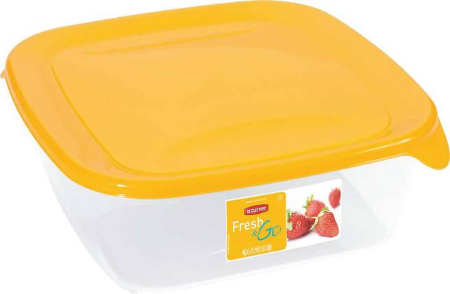 Емкость Fresh&Go 1,7л квадратная желтая, Curver (Польша), фото 2