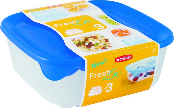 Набор емкостей Fresh&Go 0.25 + 0.8 + 1.7л голубой, Curver (Польша), фото 2
