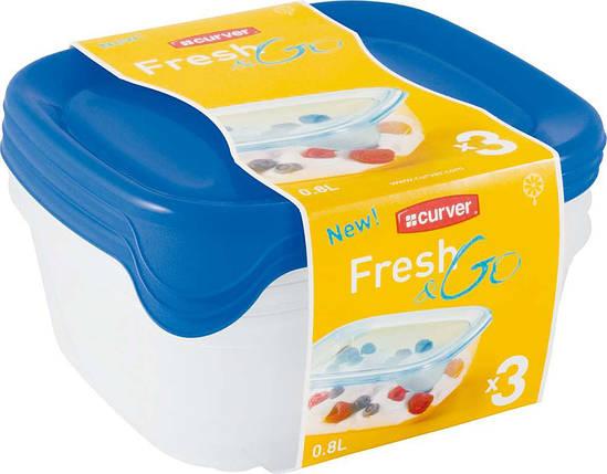 Набор емкостей Fresh&Go 3х0,8л голубой, Curver (Польша), фото 2