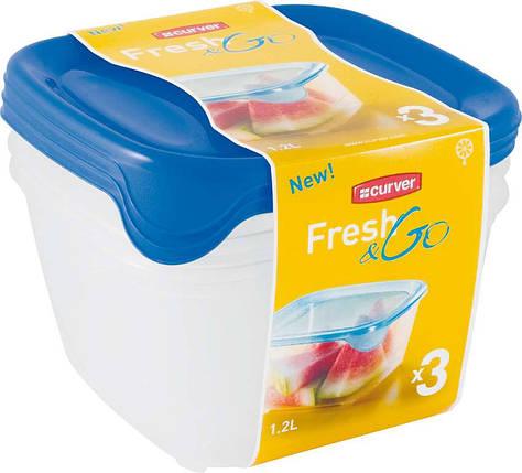 Набор емкостей Fresh&Go 3х1,2л голубой, Curver (Польша), фото 2