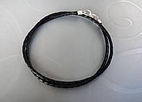 Кожаный плетеный шнурок (3.0 мм, черный)