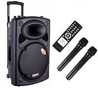 Акустика на аккумуляторе Dp-297 с радиомикрофонами (USB/FM/Bluetooth), фото 1