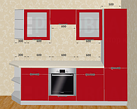 Кармен кухня Мебель-Сервис 2600 мм красная