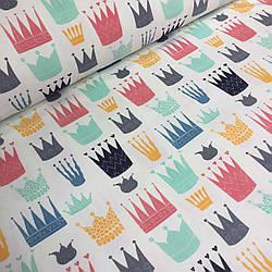 Джерси цветные короны на айвори №0036