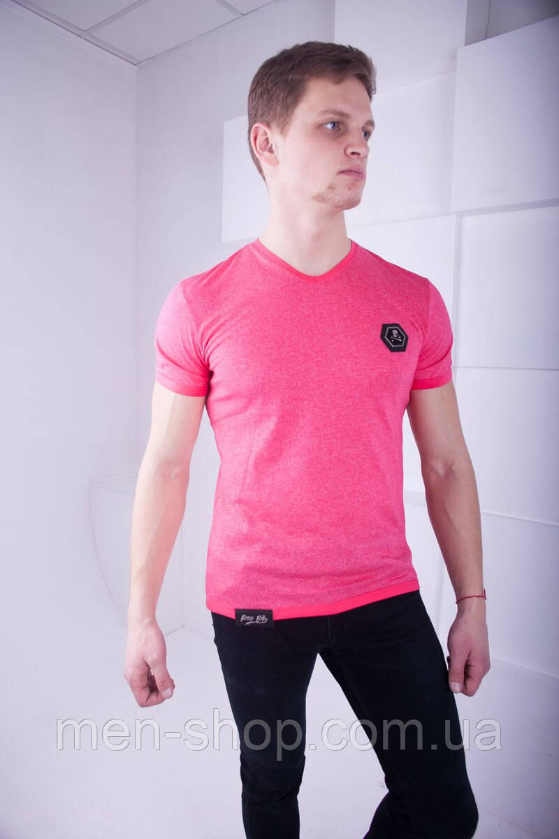 Яркая мужская футболка в стиле  Philipp Plein розовая