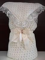 """Нарядный вязаный весенний конверт-одеяло на выписку """"Вдохновение"""" (молочный, белый)"""