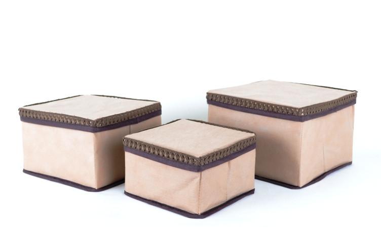 "Набор коробок для хранения мелочей ""Кружево"" 3 шт. беж., Design Line 31-BG"