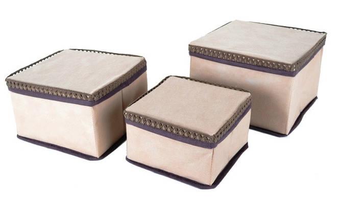 "Набор коробок для хранения мелочей ""Кружево"" 3 шт. беж., Design Line 31-BG, фото 2"